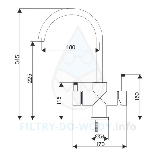 Wymiary baterii Aquafilter FXFCH14-4-M