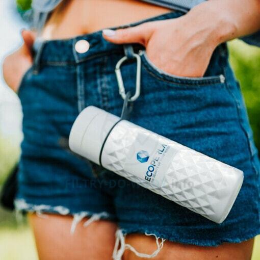 Butelka z trzciny cukrowej Ecoperla Ecobott na karabińczyku